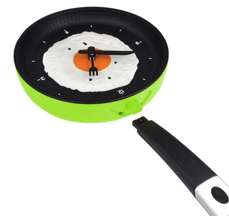 Сковорода часы с жареным яйцом кухня кафе настенные часы зеленый. SUNROAD
