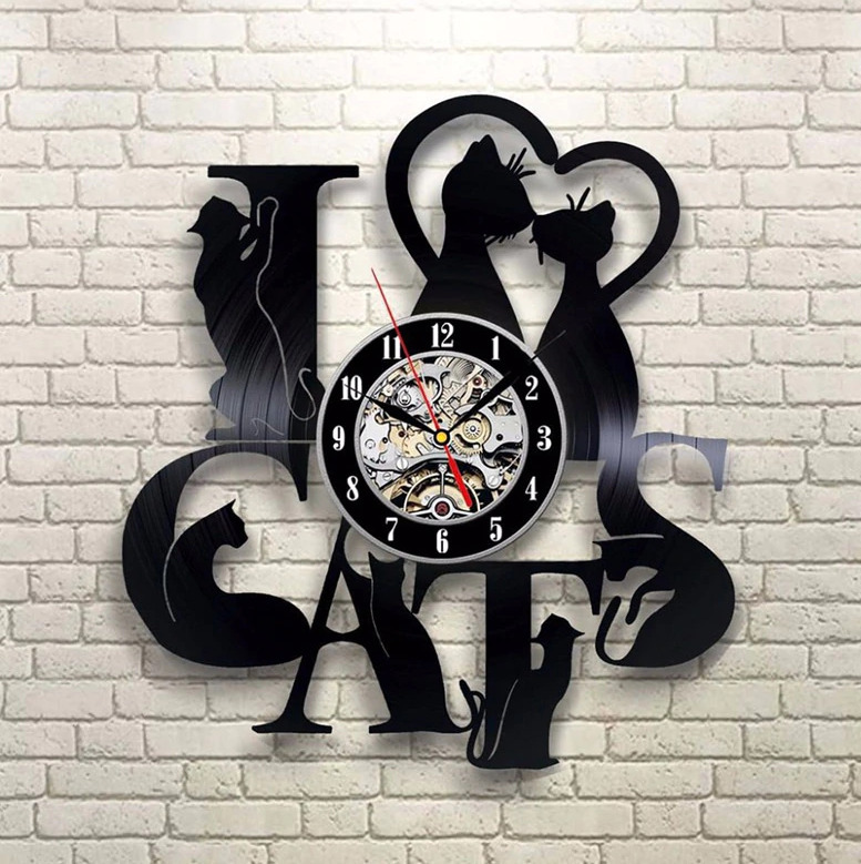 I LOVE CATS Настенные старинные виниловые часы Preciser
