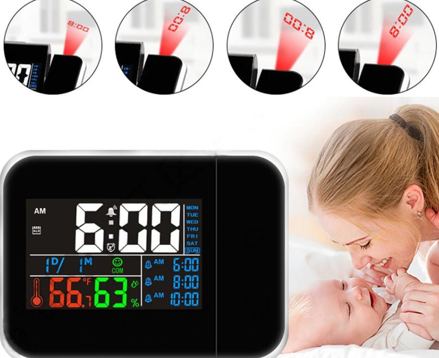 Красочные светодиодные цифровые проекционные мультифункциональные часы, термометр, датчик влажности гигрометр.