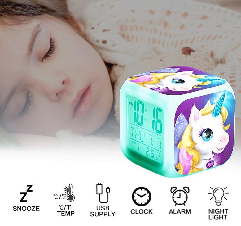 Ночные светящиеся детские настольные часы с единорогом, подарок для детей.